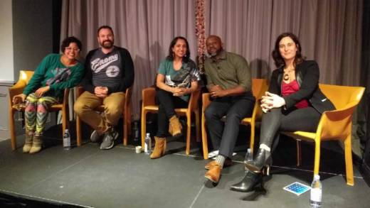 Favianna Rodriguez, Jordan Kurland, Dhaya Lakshminarayanan and Marc Bamuthi Joseph joined KQED senior arts editor Chloe Veltman for a conversation about Art and Resistance at The Battery in San Francisco on Thursday, Apr. 20.