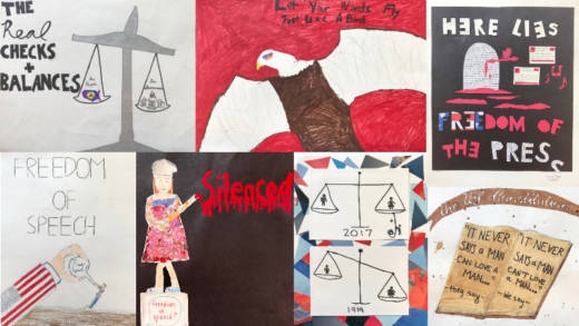Various posters by San Francisco Friends School middle schoolers.