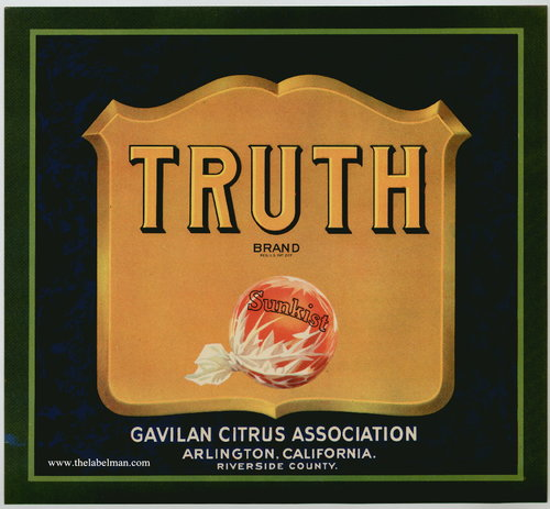 "The 1930 Gavilan Citrus Association's ""Truth"" fruit crate label which inspired Berman's project."