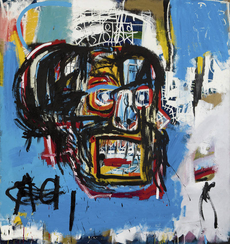 """Jean-Michel Basquiat's 'Untitled'was produced in 1982. The <a href=""""http://www.latimes.com/entertainment/la-et-entertainment-news-updates-may-basquiat-painting-auction-1495159714-htmlstory.html"""">Los Angeles Times says</a> that until shortly before Thursday's auction, it hadn't been shown in public since a private collector bought it for $19,000 in 1984"""