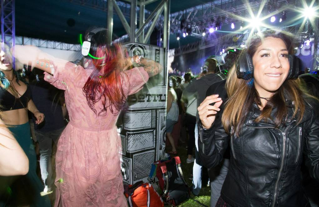 Participants in the massive Silent Disco at BottleRock in Napa, May 27, 2017.
