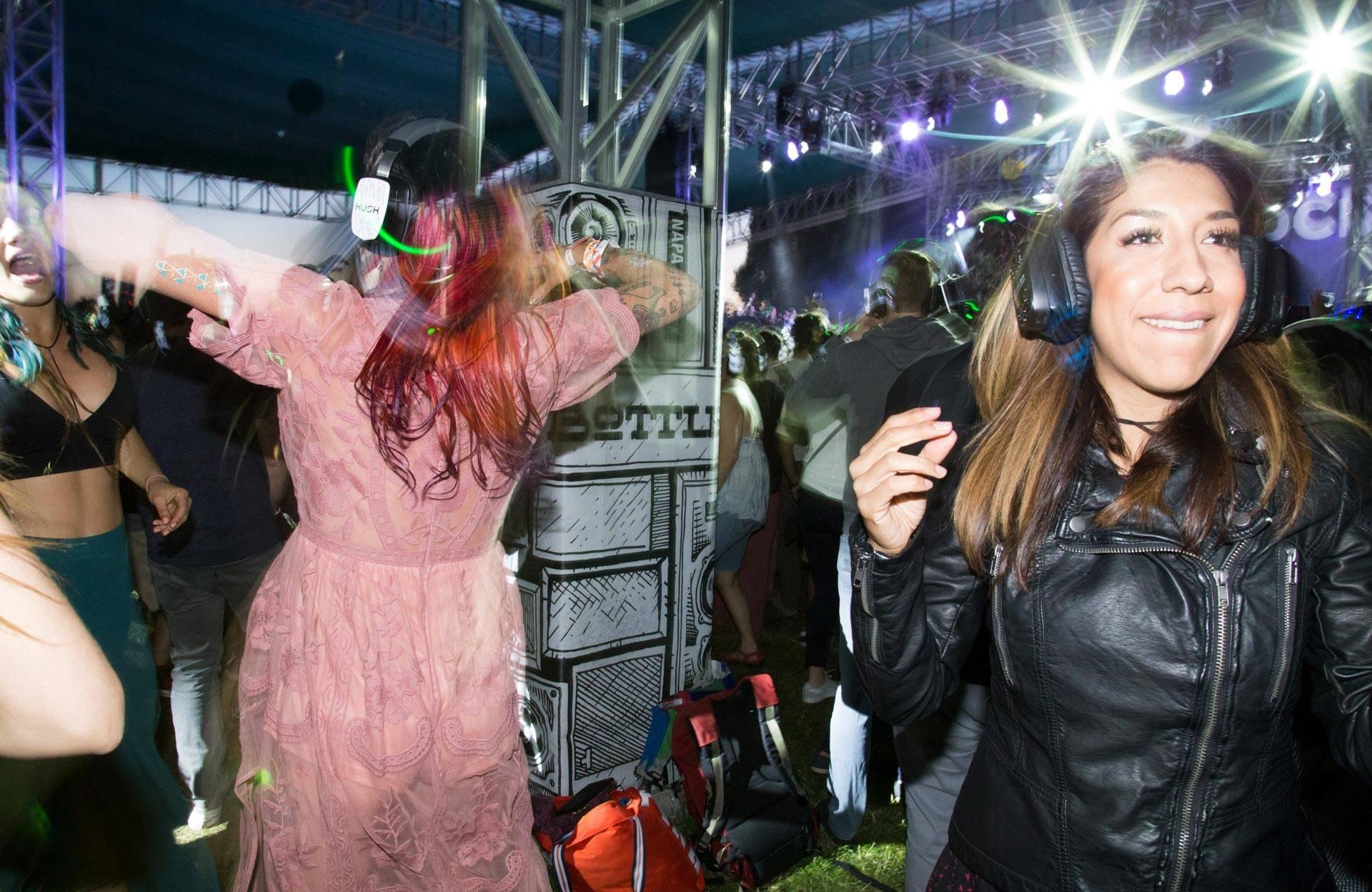 Participants in the massive Silent Disco at BottleRock in Napa, May 27, 2017. Estefany Gonzalez
