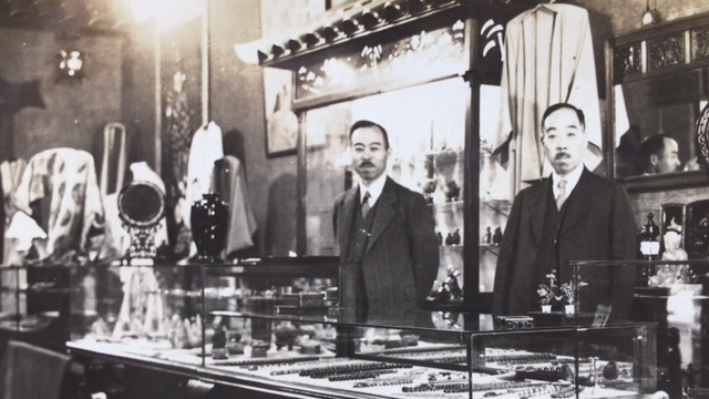 Hisao Magario (on the left) at one of the stores he once owned in the Bay Area.