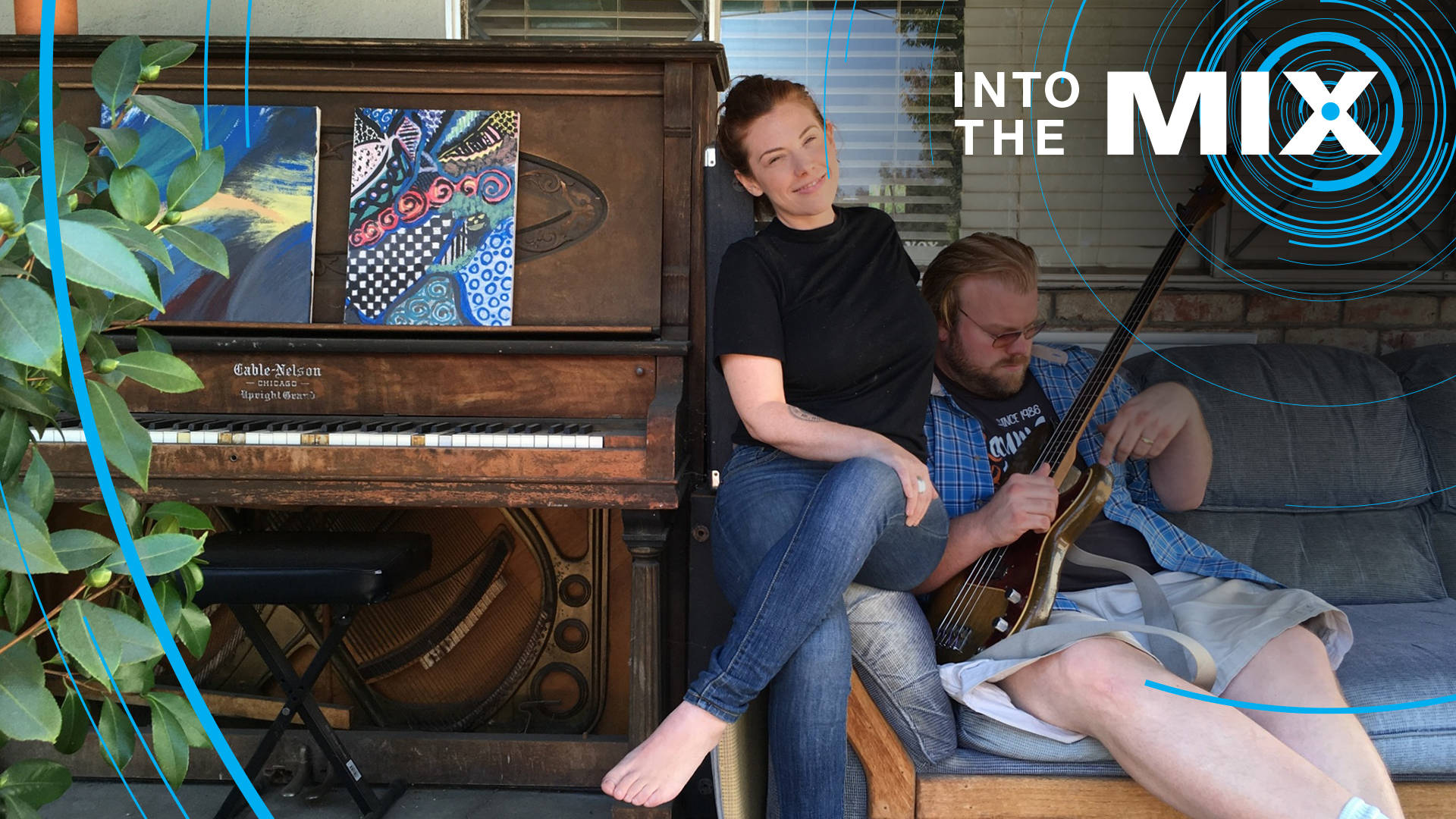 Blues musician and producer Kid Andersen and his wife, singer Lisa Leuschner, hang out on the porch outside their home in San Jose. Photo: Rachael Myrow/KQED