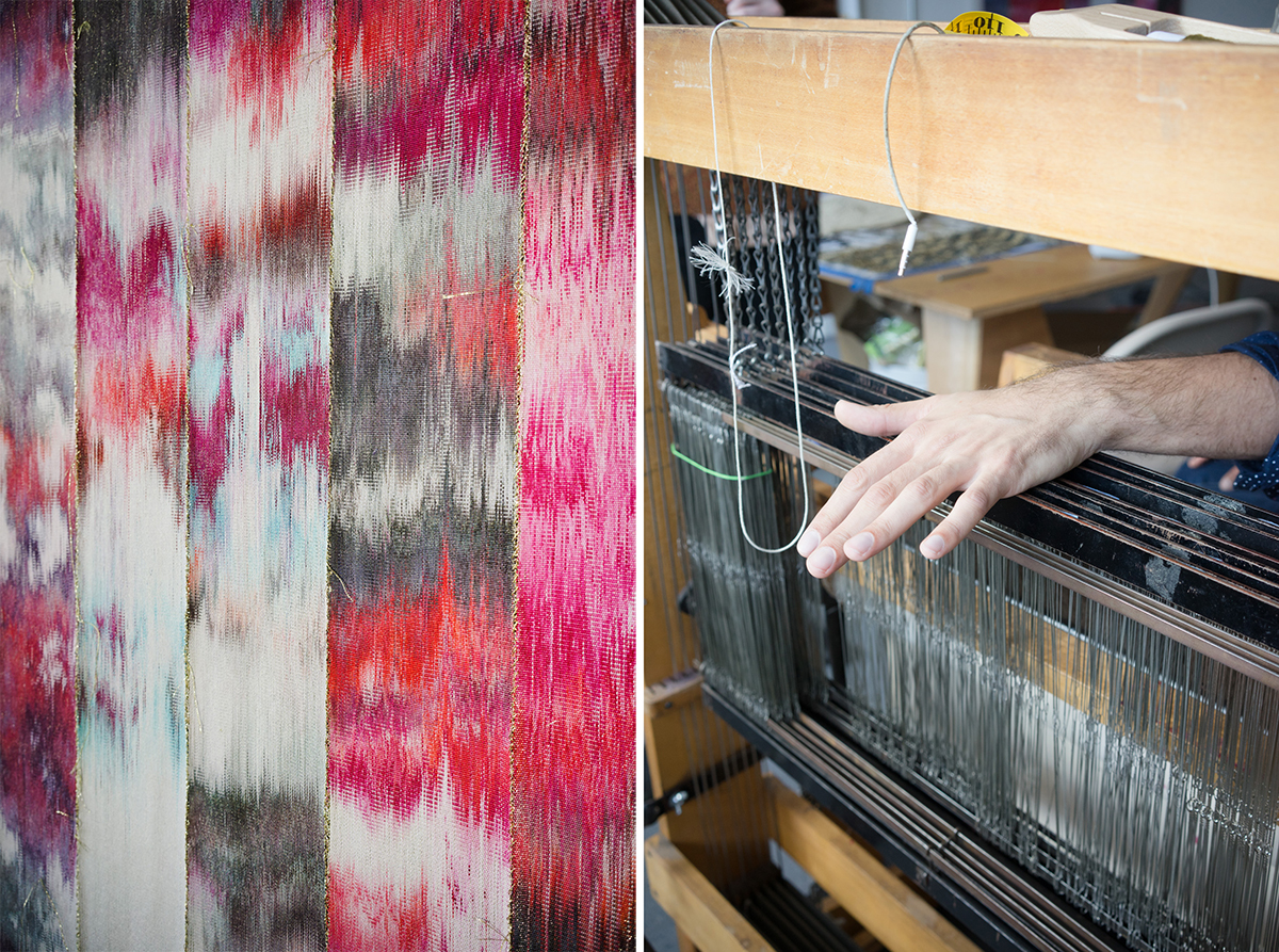 Hand-dyed yarn woven on Faught's 8-shaft floor loom; Faught demonstrating the loom's foot pedals.