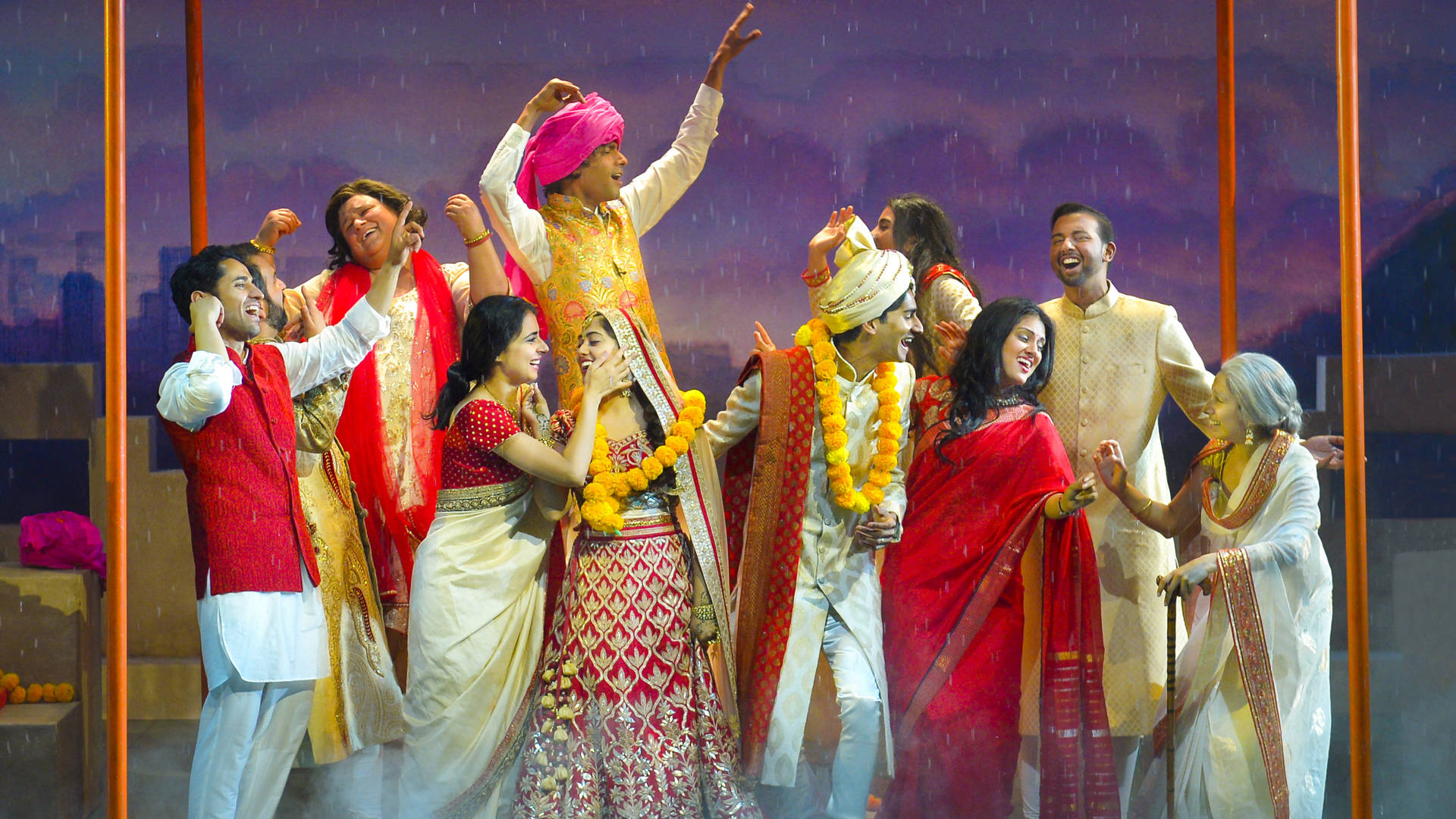 The Verma's and the Rai's celebrate the happy end to an arranged marriage in Mira Nair's musical theater adaption of her hit film, 'Monsoon Wedding' at the Berkeley Rep. Photo: Kevin Berne
