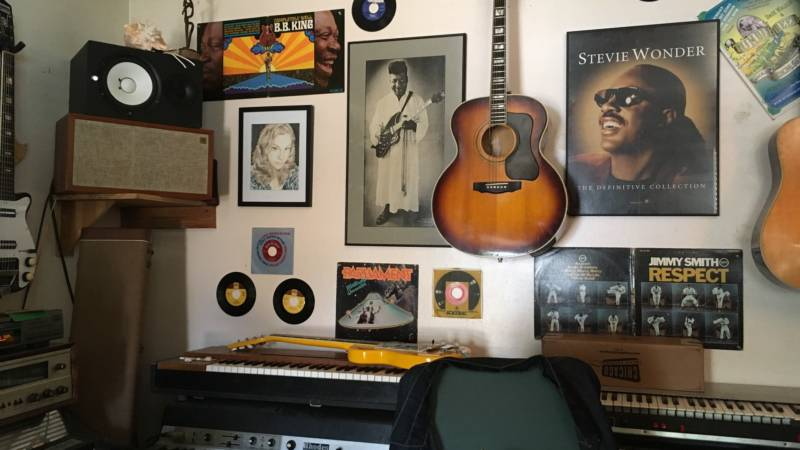 One of the less cluttered corners of Greaseland Studios, the home studio of blues musician and producer Kid Andersen.