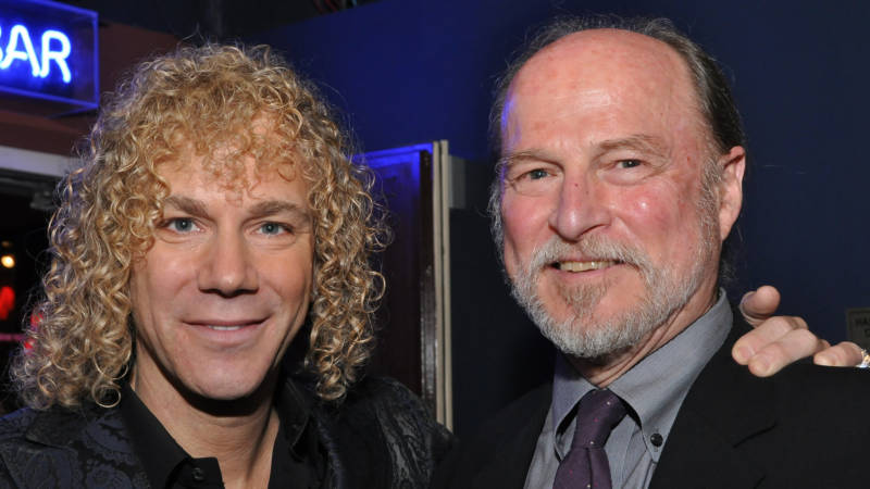 "TheatreWorks Silicon Valley Founding Artistic Director Robert Kelley with the composer of ""Memphis"" and Bon Jovi keyboardist David Bryan at the Broadway opening night, October 19, 2009."