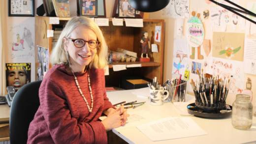 Roz Chast works in the studio of her Connecticut home.