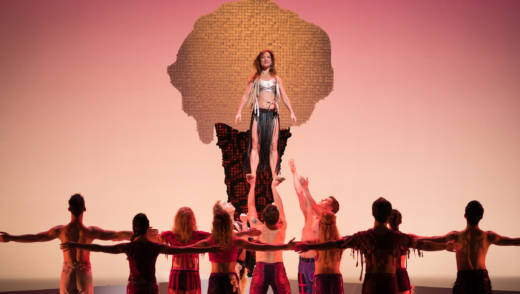 Smuin dancer Erin Yarbrough-Powell (center) with members of the company in 'Be Here Now', a world premiere by Trey McIntyre
