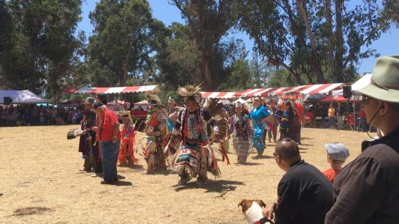 There's Dan Nanamkin, center, dancing with the water protectors of Standing Rock at the 46th Annual Stanford Powwow this year.