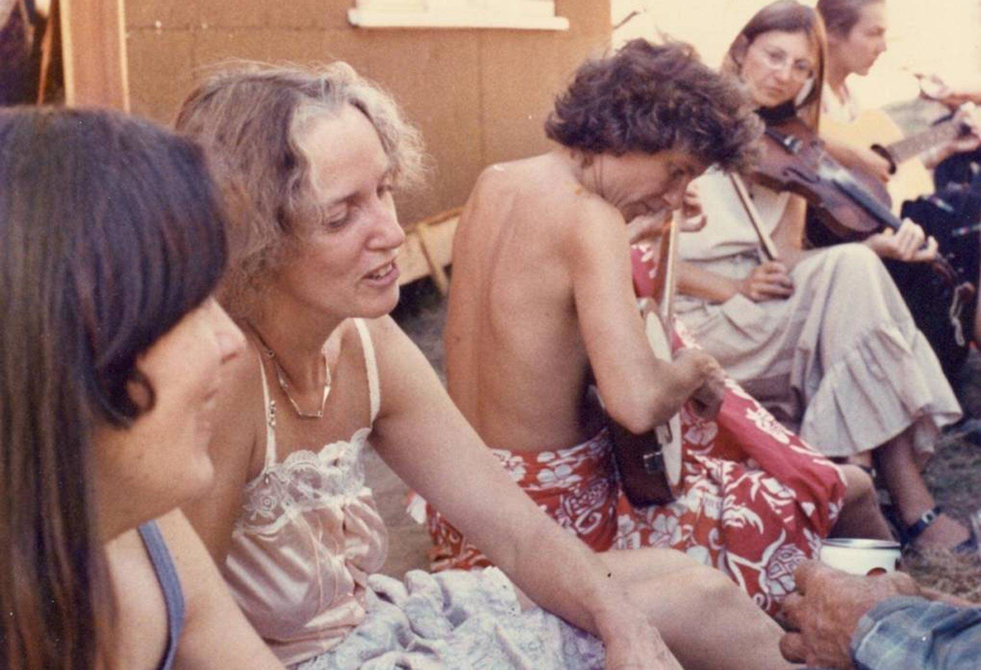 Salli Rasberry and Delia Moon with others at a party. An upcoming panel at the Main San Francisco Library explores the unsung contributions of women during the 1960s counterculture. Courtesy Salli Rasberry