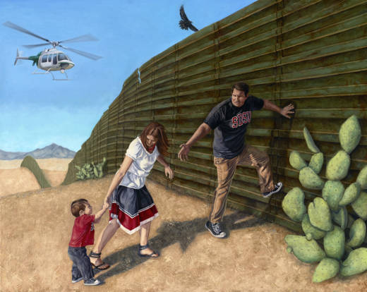 'In Search of a New Home' is part of Eric Almanza's series of oil paintings depicting the border wall with Mexico.