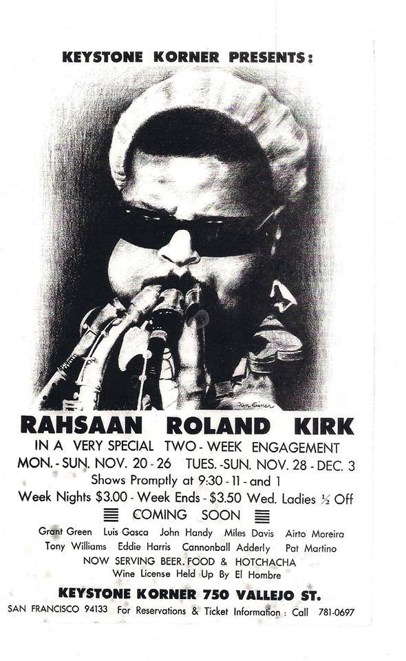poster for a Rahsaan Roland Kirk appearance at the Keystone Korner.