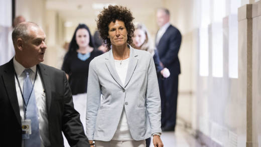Andrea Constand walks to the courtroom for the trial of actor Bill Cosby on sexual assault charges at the Montgomery County Courthouse on June 6, 2017 in Norristown, Pennsylvania.