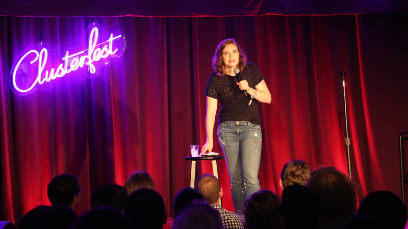 Beth Stelling on stage at the 415 Comedy Club