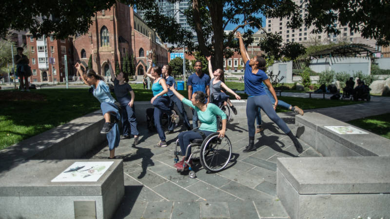 Axis Dance in a rehearsal for 'Occupy' at Yerba Buena Gardens