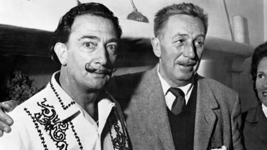 """Spanish artist Salvador Dali (L) meets Walt Disney (R), on May 17, 1961, in Barcelona, to create the Opera """"Scipion in Spain"""" of Carlotti for the La Fenica theater of Venezia."""