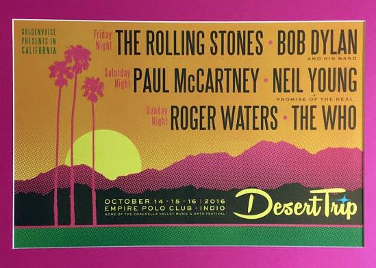 The official poster for the Desert Trip festival in Indio, Calif.