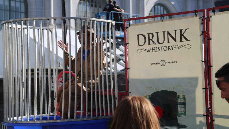 The 'Drunk History' drunk tank. Yes, the man in the Davy Crockett outfit did seem to have a good time