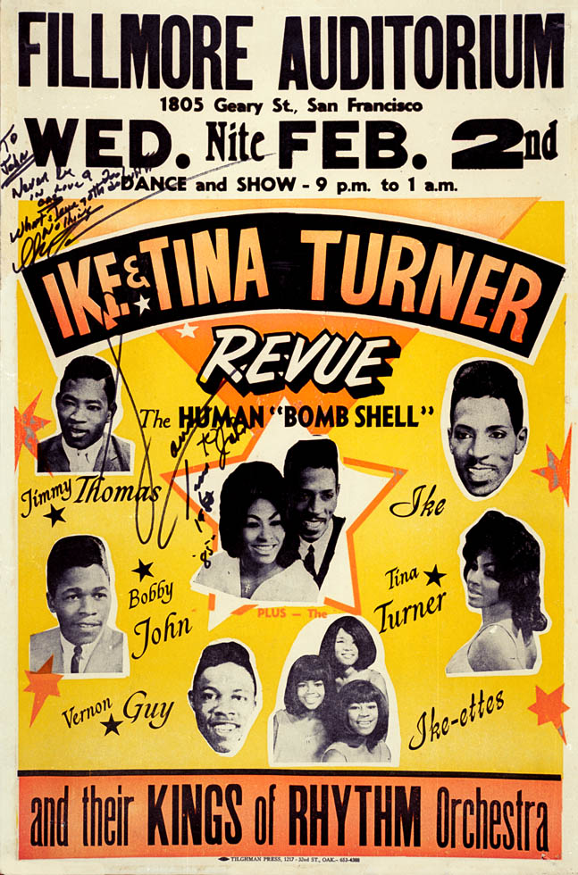 A poster for a show with Ike & Tina Turner arranged by Charles Sullivan at his Fillmore Ballroom.