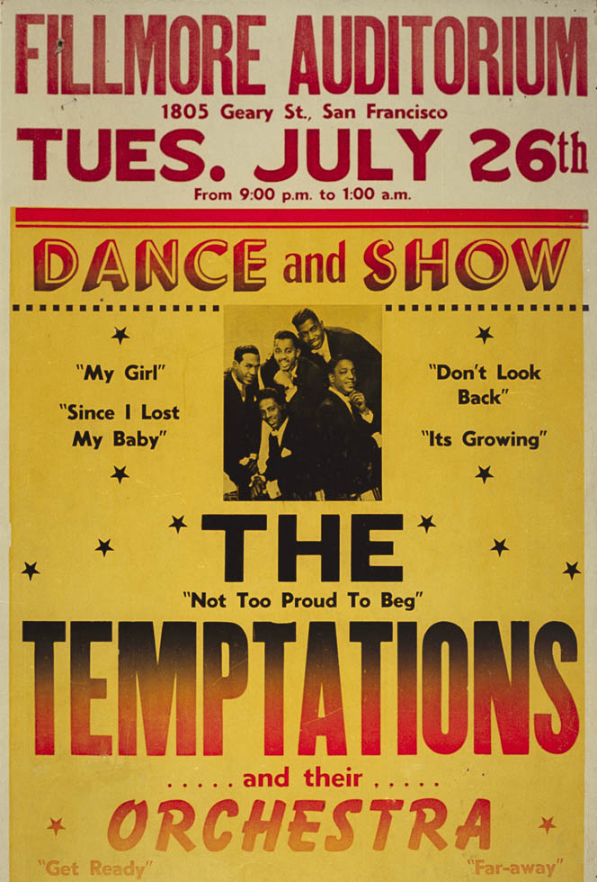 A poster for a show with the Temptations arranged by Charles Sullivan at his Fillmore Ballroom.