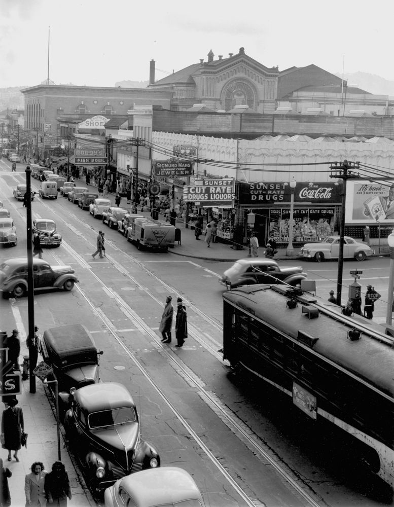 Fillmore and Post Streets, pictured during the Fillmore's jazz era.