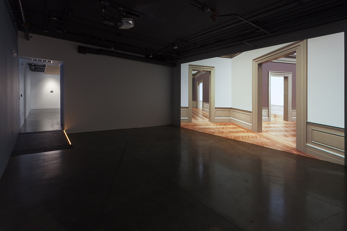 Installation view of 'What We Know that We Don't Know,' with work by Trisha Donnelly at left, work by Walid Raad on the right.