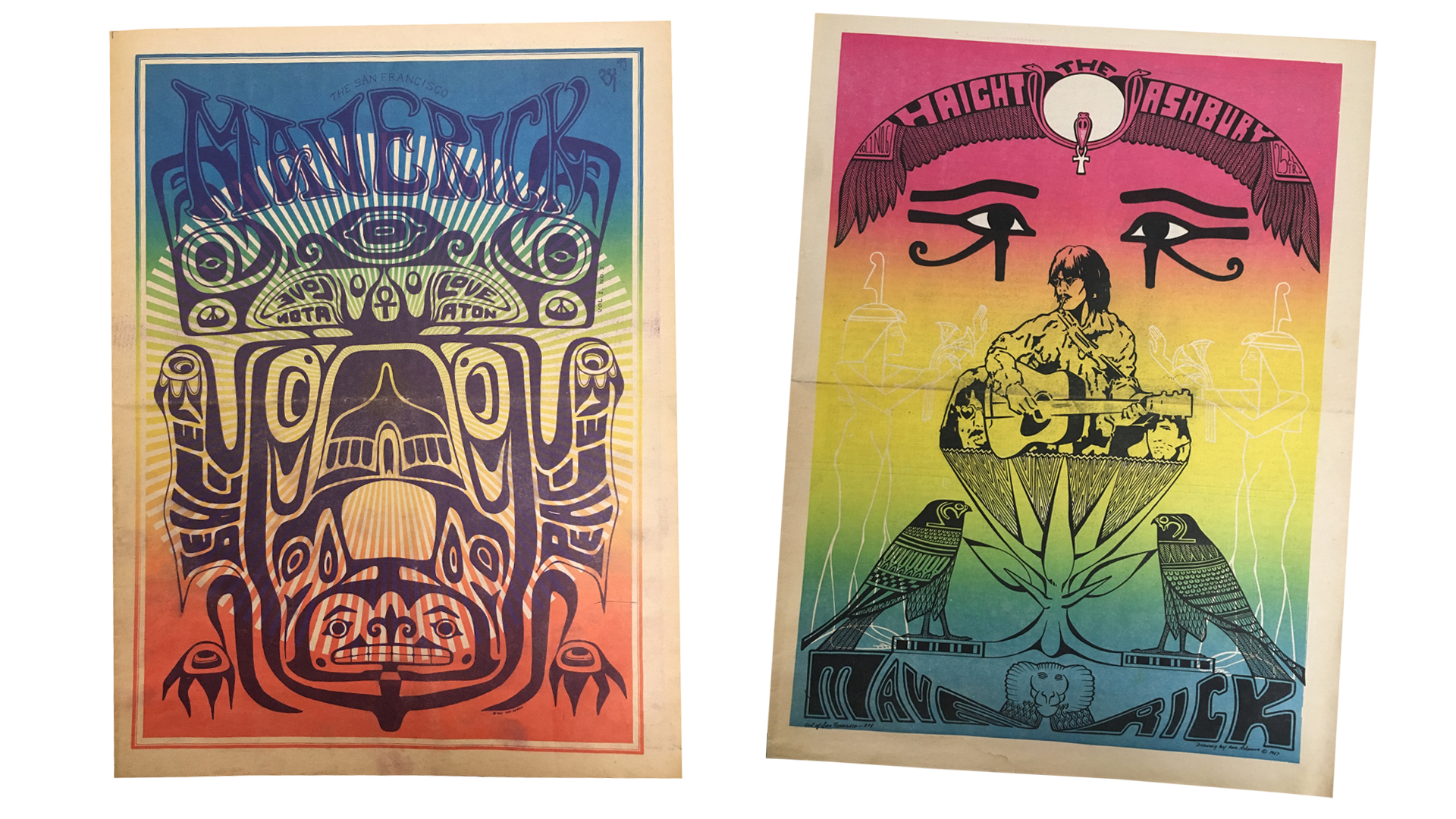 Covers of the 'Haight-Ashbury Maverick,' published by Guy Strait, San Francisco.