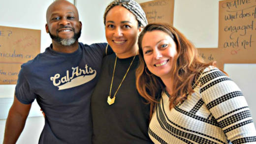 Organizers of Rise Up! An American Curriculum at MoAD, from left: Marc Bamuthi Joseph, Mariah Rankine-Landers, and Jessa Brie Moreno.