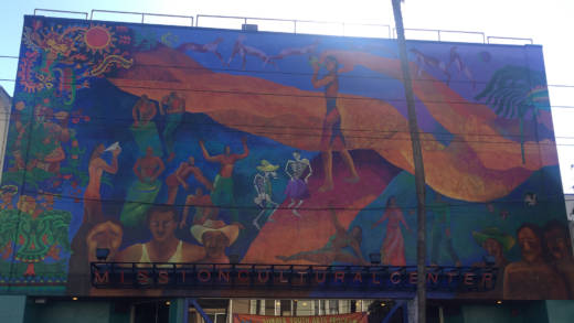 The refurbished mural above the Mission Cultural Center for Latino Arts