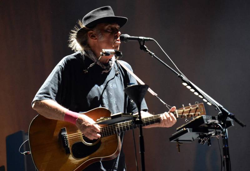 Neil Young performs at Desert Trip in Indio, Calif., in 2016.