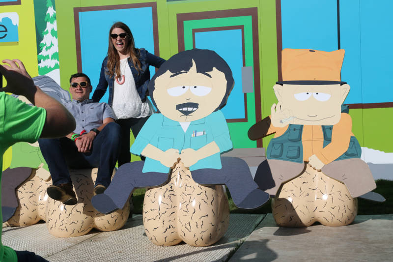 People loved the gigantic scrotum display at the South Park village