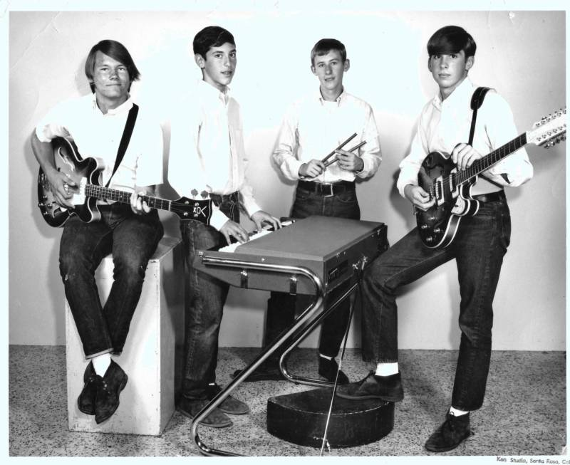 My dad's first band, the Sounds of Night, circa mid-1960s. My dad played bass (left), just like I'd do when he handed his bass guitar down to me.
