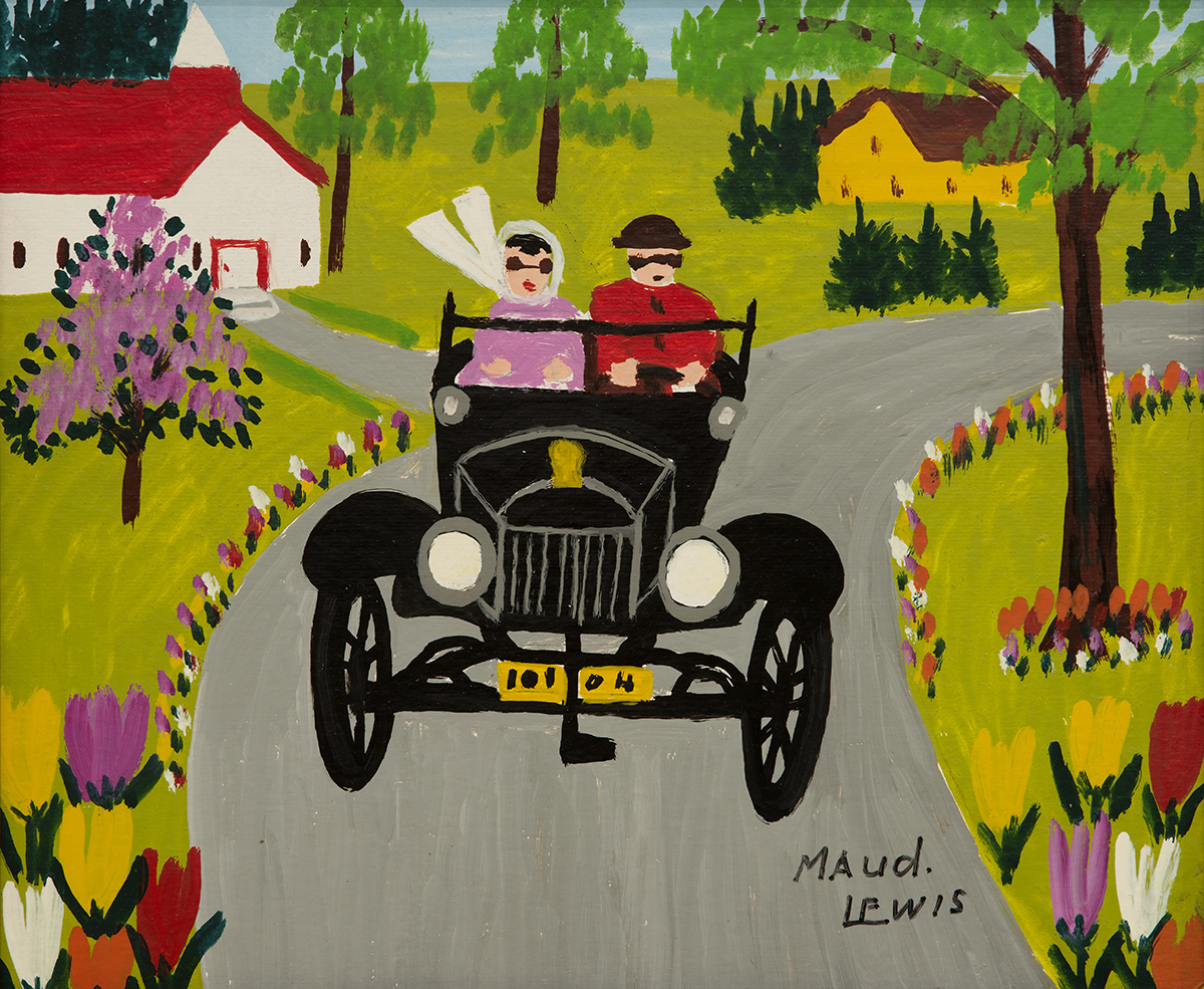 A painting by the real-life Maud Lewis, 'Sunday Ride.'