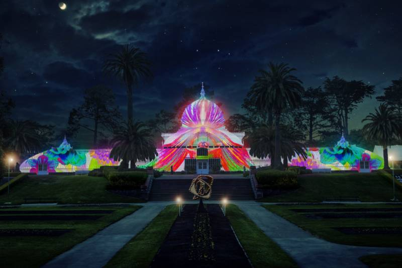 The San Francisco Conservatory of Flowers all dressed up for a city sponsored Summer of Love concert