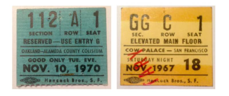 My dad's ticket stubs for Elvis Presley (left), the night he first kissed my mom; and the Who (right), in 1967, almost 50 years before our road trip.
