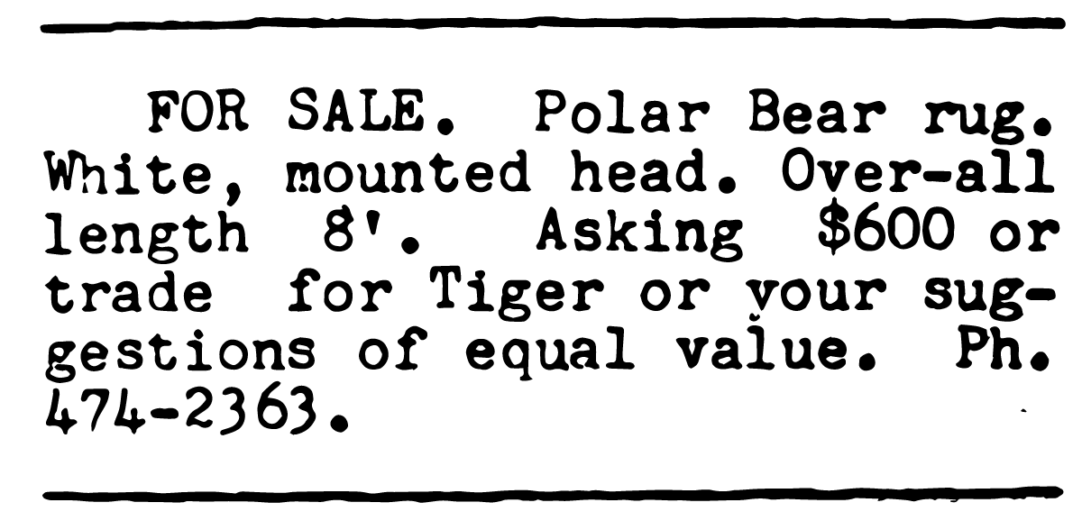 From the classified section of the May 1966 issue of 'Vector.'