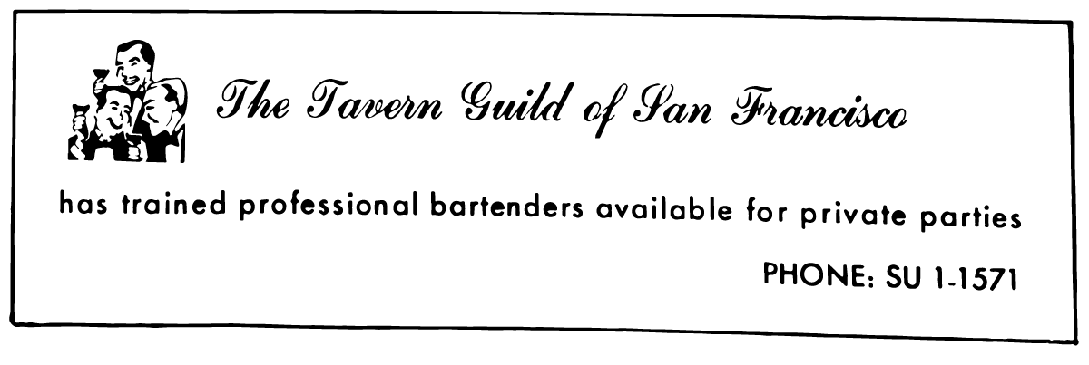 An ad for the Tavern Guild in the May 1966 issue of 'Vector.'