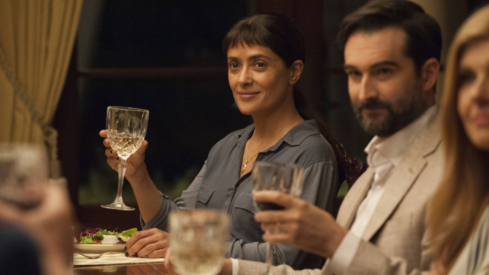 Beatriz (Salma Hayek) and Alex (Jay Duplass) in 'Beatriz at Dinner.'