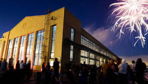 Fireworks over the Craneway Pavilion in Richmond, where the Oakland Symphony is playing a free show on July 3rd,