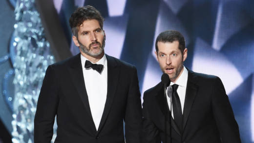 ]Writer/producers David Benioff (L) and D.B. Weiss accept Outstanding Writing for a Drama Series for 'Game of Thrones' episode 'Battle of the Bastards' onstage during the 68th Annual Primetime Emmy Awards at Microsoft Theater on September 18, 2016 in Los Angeles, California.