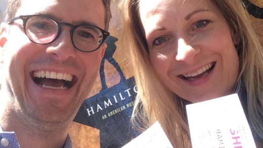 Johanna Reis and her husband Timo won $10 lottery tickets to see 'Hamilton' on tour in San Francisco.