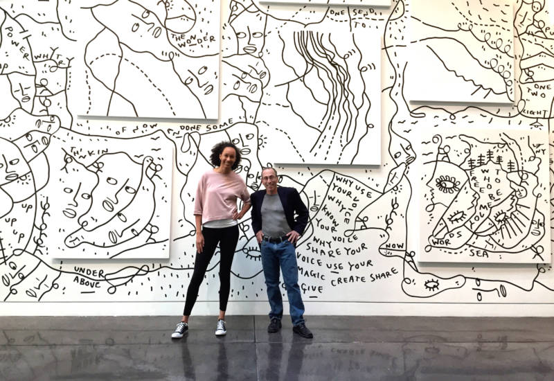 Ariana Proehl and Cy Musiker at the Chandran Gallery for the Shantell Martin show
