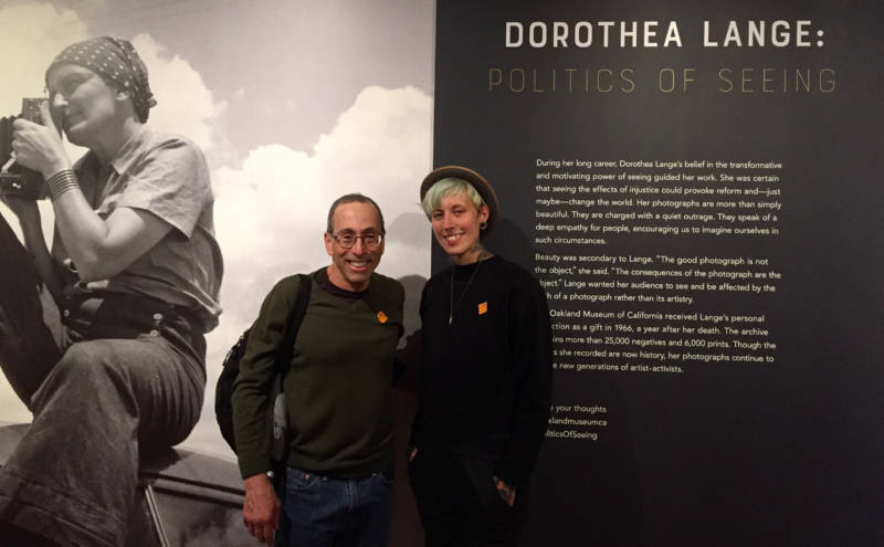 KQED's Cy Musiker and music producer Sarah Sexton at the Dorothea Lange show at the Oakland Museum of California