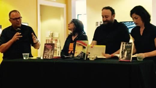 At Litquake (L–R), Gabe Meline, Clane Hayward, Joshua Safran and Alysia Abbott.