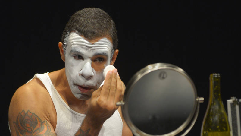 BJJ (Lance Gardner) gets ready to perform whiteness in 'An Octoroon' by Brandon Jacobs-Jenkins.