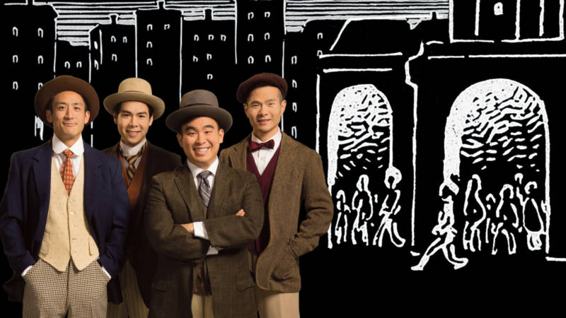 Charlie (Hansel Tan), Fred (Sean Fenton), Frank (Phil Wong), and Henry (James Seol) arrive in San Francisco in the 'Four Immigrants, an American Musical Manga