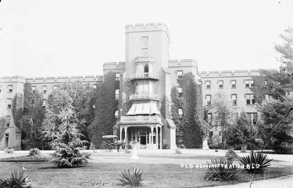 "The Center Building at St. Elizabeths, pictured circa 1900, housed administrative offices and patient wards. Established in 1855 as the Government Hospital for the Insane, the facility became widely known as ""St. Elizabeths"" during the Civil War, and took that name officially in 1916.  National Archives and Records Administration/National Building Museum"