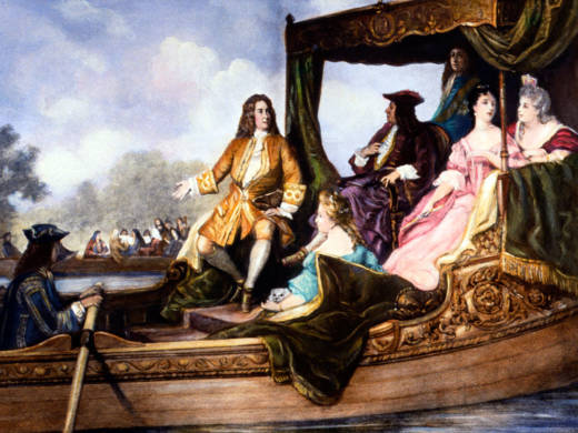 A portrait of George Frideric Handel, presenting his 'Water Music' to King George I.